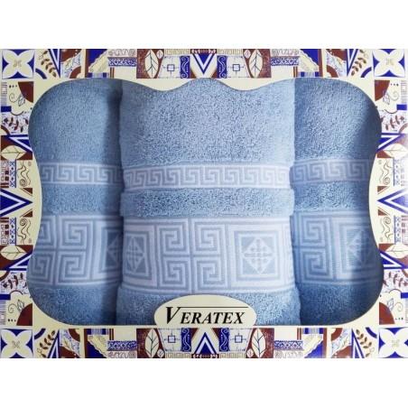Luxusní dárkový froté set 1 osuška 2 ručníky (MODRÁ)