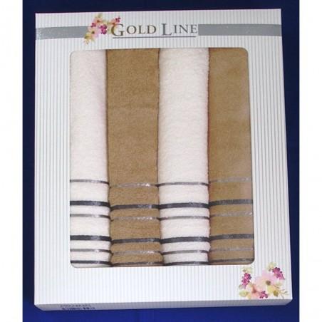 Luxusní dárkový froté set 2x osuška 2x ručník oříškový/bílý
