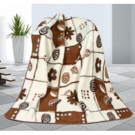 Vlněná deka bílo/hnědá 155x200cm  evropské merino