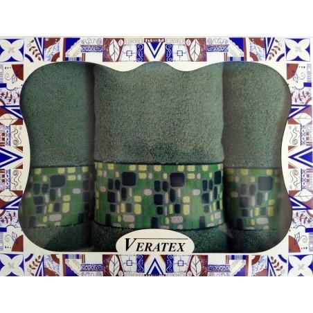 Luxusní dárkový froté set 1 osuška 2 ručníky (kameny tm. zelené)