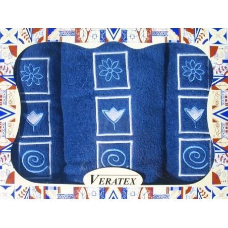 NENÍ SKLADEM !!!Luxusní dárkový froté set 1 osuška 2 ručníky (tm. modrá)