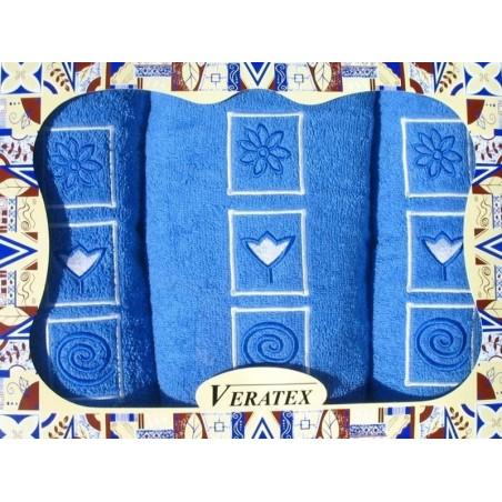 Luxusní dárkový froté set 1 osuška 2 ručníky (královsky modrá)